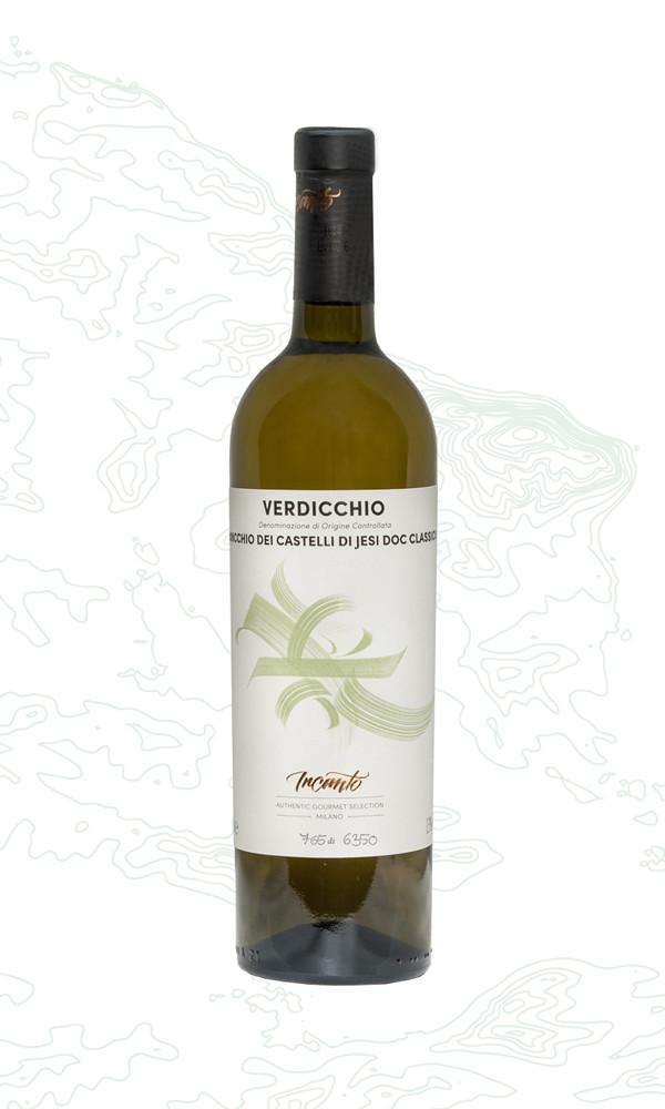 Bottiglia di vino bianco Verdicchio
