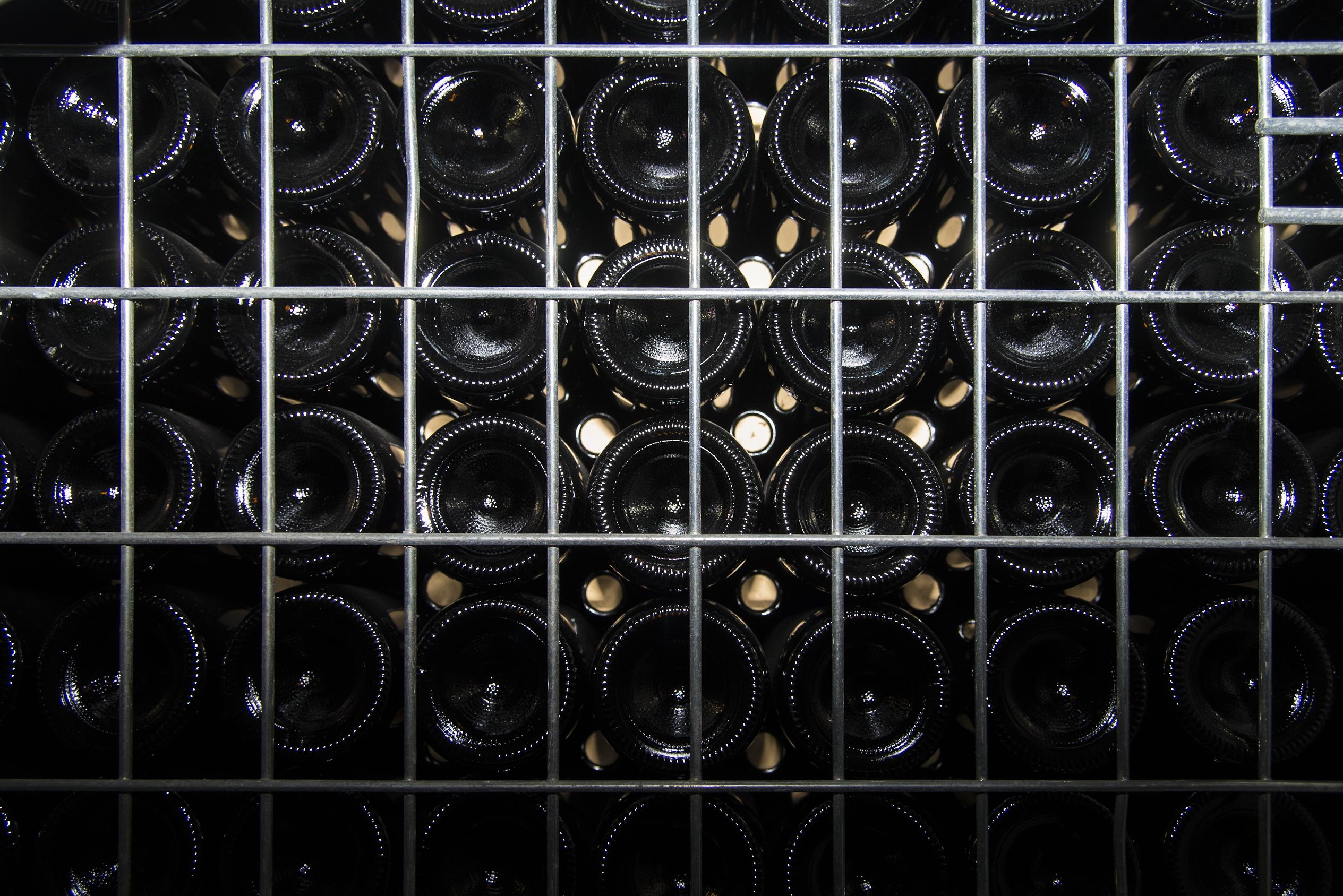 Bottiglie in griglia