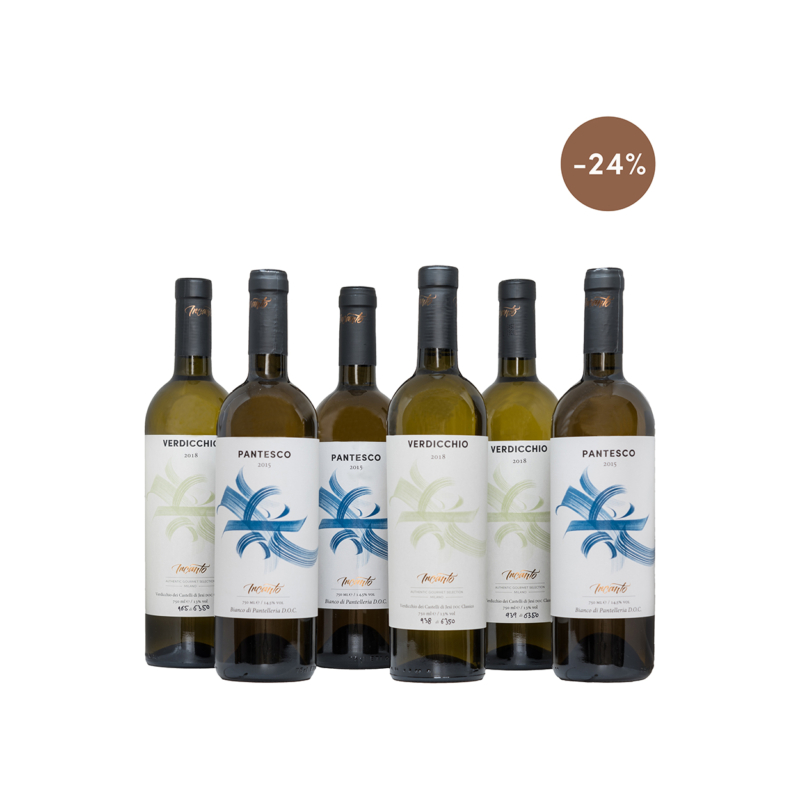 Three bottles Castelli di Jesi DOC and three bottles of Bianco di Pantelleria DOC
